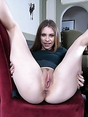 Anya uses a big green vibrating dildo to fuck herself